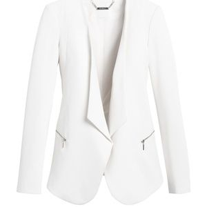 WHBM Drape Front Blazer White Zip Pocket Sz 4